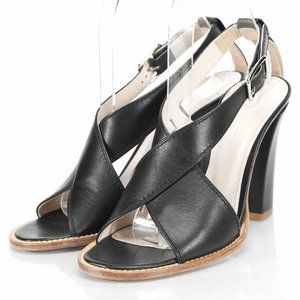 JIL SANDER Black Leather Sandals Size 6.5
